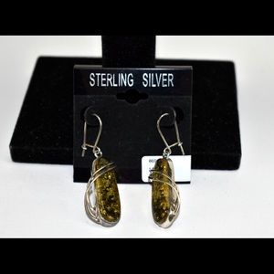 Amber and Sterling Silver Earrings NWT